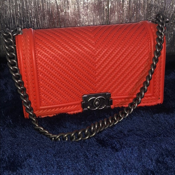 56b4431d47aa CHANEL Bags | Boy Chevron Medium Orange Lambskin | Poshmark